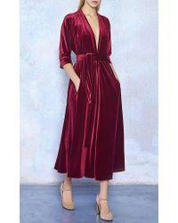 Luisa Beccaria - Red Velvet Three Quarter Sleeve Midi Dress - Lyst
