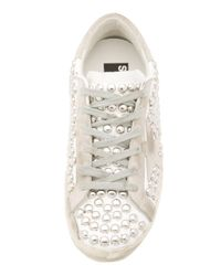 Golden Goose Deluxe Brand Metallic Superstar Distressed Studded Suede And Leather Sneakers