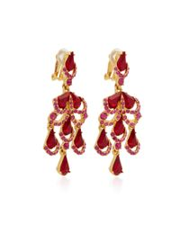 Oscar de la Renta | Red Baroque Gold-tone Crystal Earrings | Lyst