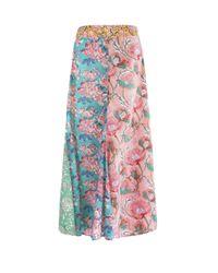 Alix Of Bohemia Multicolor Lili Flower Paneled Cotton Skirt