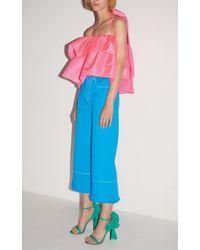 MSGM Blue Solid Color Bull Denim Culotte Jeans