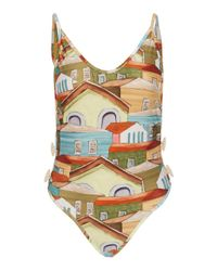 Agua de Coco Multicolor Printed Button-detailed Swimsuit