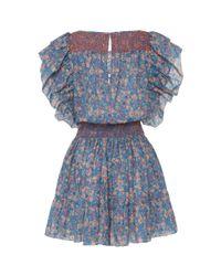 LoveShackFancy Blue Marcella Ruffle Mini Dress