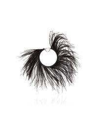 Loewe Black Single Feathers Loop Earring