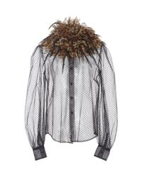 Marc Jacobs Multicolor Feather-embellished Sheer Tulle Blouse
