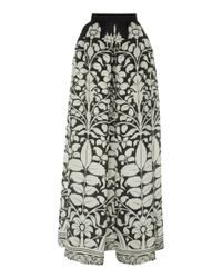 Naeem Khan Multicolor Floral-print Silk-chiffon Maxi Skirt