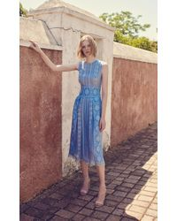 Costarellos Blue Sleeveless Silk-chiffon Midi Dress