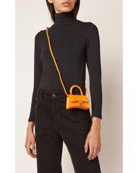 Balenciaga Orange Hourglass Mini Croc-effect Leather Bag