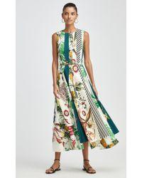 Oscar de la Renta Multicolor Paneled Printed Cotton-blend Dress