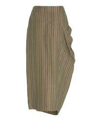 Rejina Pyo Green Simone Wrap-effect Striped Cotton Skirt