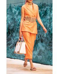 Ralph & Russo Orange Cropped Wool Straight-leg Pants