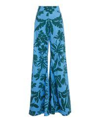 Alexis Blue Dasha Floral Cotton Wide-leg Pants