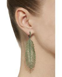Sidney Garber - Green 18k Feathers That Move Tsavorite Earrings - Lyst