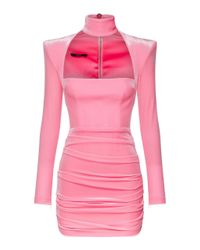 Alex Perry Pink Ashton Ruched Velvet Mini Dress