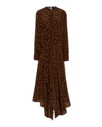 Petar Petrov Multicolor Draped Polka-dot Print Silk Midi Dress