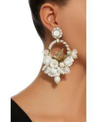 Ranjana Khan - White M'o Exclusive Floral Hoop Earrings - Lyst