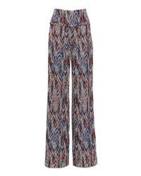 Missoni Blue Pattern Knit Wide-leg Pants