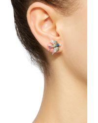 Colette - Multicolor 18k White Gold Sapphire And Tsavorite Earrings - Lyst