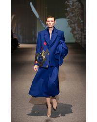 Lake Studio Blue A-line Crepe Turtleneck Midi Dress