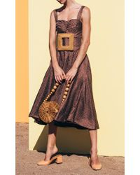 Cult Gaia Brown Faye Silk Darted Dress