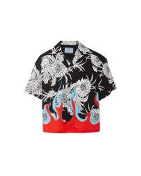 Prada Black Flame Print Shirt for men