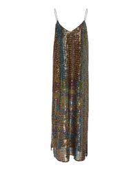 Caroline Constas Metallic Midi Slip Dress