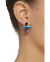 Nicole Romano - Blue 18k Gold-plated Stacked Crystal Earrings - Lyst