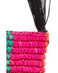 Sensi Studio Multicolor Striped Toquilla Straw Tote