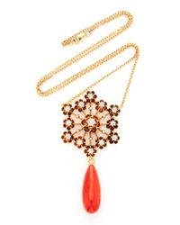 Haute Victoire Metallic One Of A Kind 14k Gold Dimaond And Coral Necklace