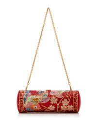 Judith Leiber Couture Red Pao Roll Clutch