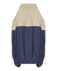 Lee Mathews Blue Freya Two-tone Cotton Parachute Skirt