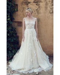 Costarellos Bridal White Tulle Ballerina Bodice Peplum Gown