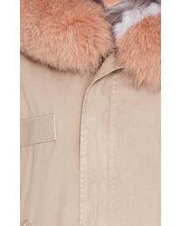 Mr & Mrs Italy - Pink Striped Fur Lined Mini Parka - Lyst