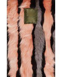 Mr & Mrs Italy   Pink Striped Fur Lined Mini Parka   Lyst