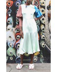 Tata Naka - Green Contrast Blouson Sleeve Dress - Lyst