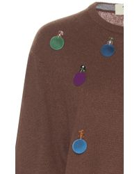 Tata Naka Brown Beaded Paillette Cashmere Sweater