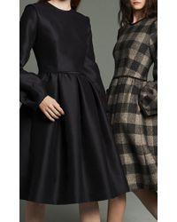 Marina Moscone Blue Flounced Long Sleeve Dress