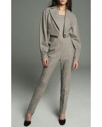 Marina Moscone Gray Gladiator Tailored Jumpsuit