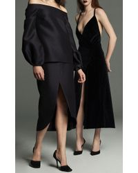 Marina Moscone Blue Crossback Velvet Dress