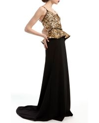 Elizabeth Kennedy Black V-neck Gown With Embroidered Bodice And Peplum
