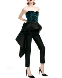 Elizabeth Kennedy Black Bustier Top With Peplum And Embroidery