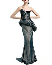 Elizabeth Kennedy Metallic Strapless Gown With Asymmetrical Draped Bodice And Bubble Peplum