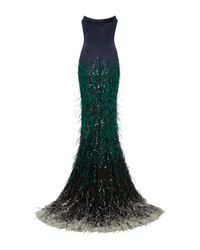 Elizabeth Kennedy Blue Strapless Fitted Gown With Ombre Feather Embroidery