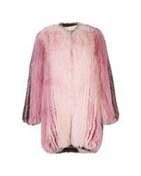 Mary Katrantzou | Pink Nausheen Fox Fur Coat | Lyst