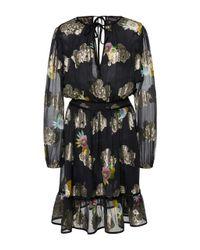 Cynthia Rowley   Black Sheer Metallic Flounce Dress   Lyst