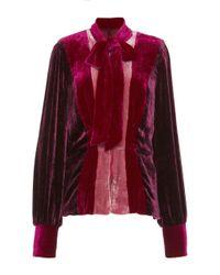 Anna Sui | Red Vintage Velvet Magneta Color Block Jacket | Lyst