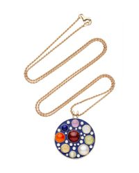 Noor Fares | Upratna Amulet In Blue Enamel, Grey Gold With Various Coloured Stones & Diamonds | Lyst