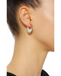 Noor Fares | White Chandra Crescent Earrings In Yellow Gold With Mother Of Pearl Crescents & Diamonds | Lyst