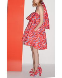 MSGM Leaf Print Voluminous Layered Bow Dress