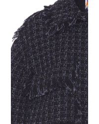 MSGM Black Lurex Check Tweed Oversized Jacket